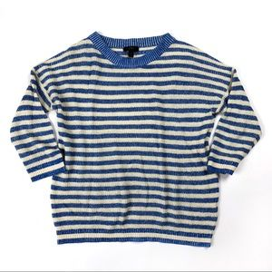 J.Crew linen blend blue heather striped sweater